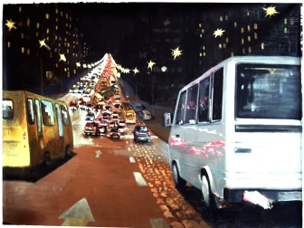 """Life in Traffic"", acrylic on canvas 160x130 cm"