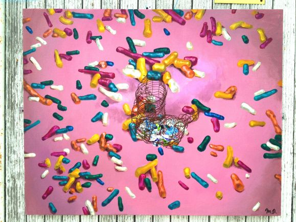 "SOLD ""Addiction"", acrylic on canvas, metal grid, candy wraps"