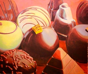 "SOLD ""Chocolate Pyramids"" - original painting, acrylic on canvas, 150x170 cm"