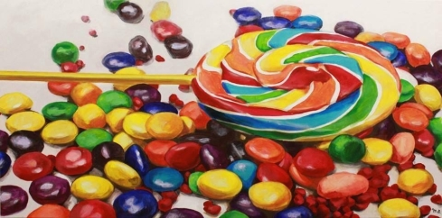 """Sugar"" - original painting, acrylic on canvas, 150x70 cm"