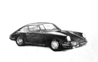 Porsche car sketch, ink on paper