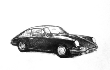 Porsche car sketch, ink on paper