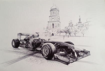 Red Bull Racecar in Kiev - sketch, ink on paper