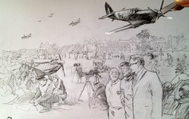 Goodwood Revival painting sketch, pencil on paper