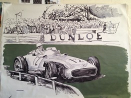 Stirling Moss - race sketch, acrylic on canvas