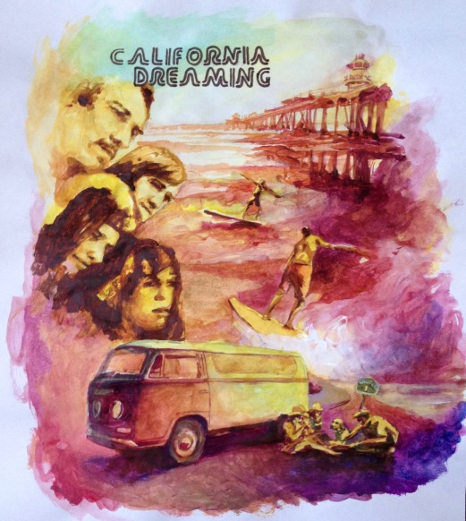 California Dreams Poster sketch, watercolors, paper