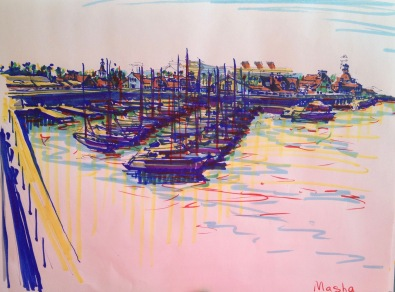 Long Beach - sketch4 - cityscape sketch, markers on paper