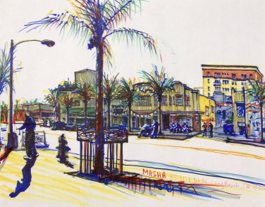 Long Beach - sketch3 - cityscape sketch, markers on paper