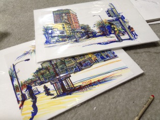 Long Beach - sketches - cityscape sketch, markers on paper