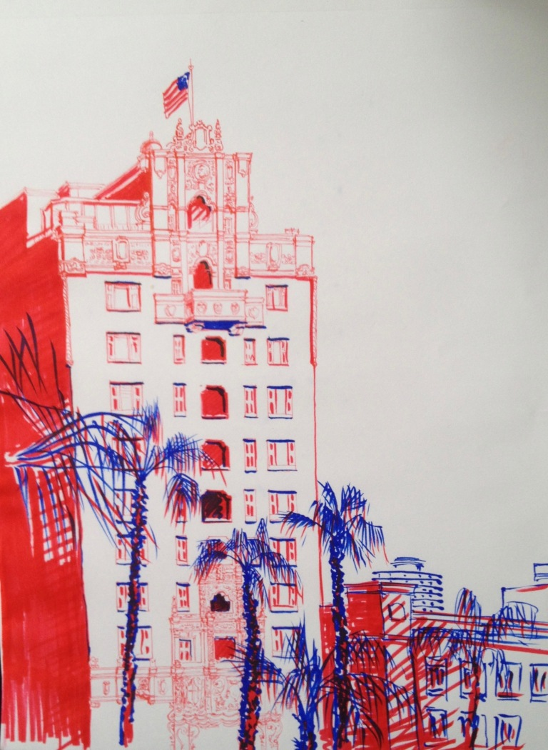 Long Beach - sketch1 - cityscape sketch, markers on paper