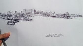Long Beach - sketch cityscape sketch, pen on paper