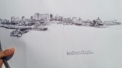Long Beach - sketch cityscape sketch, pen on paper