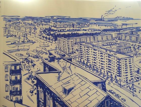 Kiev Memoirs - cityscape sketch, marker on paper