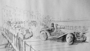 Nuvolari Race Sketch - pen on paper