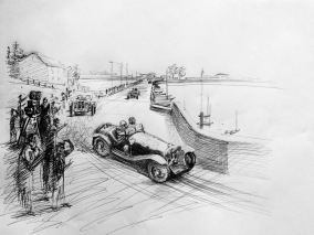 Nuvolari Race Sketch - pen on paper