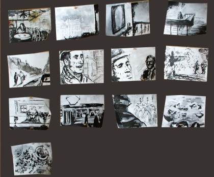 Ionesco - Film Storyboard, realistic interpretation to the absurd story by Eugene Ionesco, ink on paper