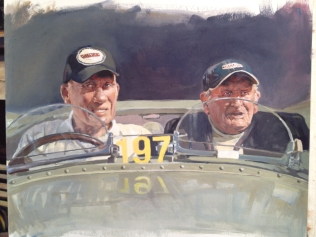Stirling Moss and Norman Dewis - original painting acrylic on canvas