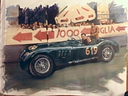 Stirling Moss and Norman Dewis Jaguar - original painting acrylic on canvas