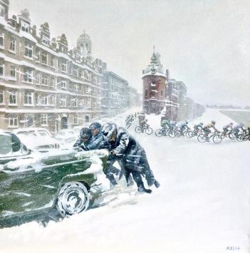 A Race Through The Ice Storm - original painting, acrylic on canvas