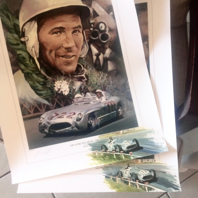 Stirling Moss Triumph - poster, remarque - acrylic on canvas paper