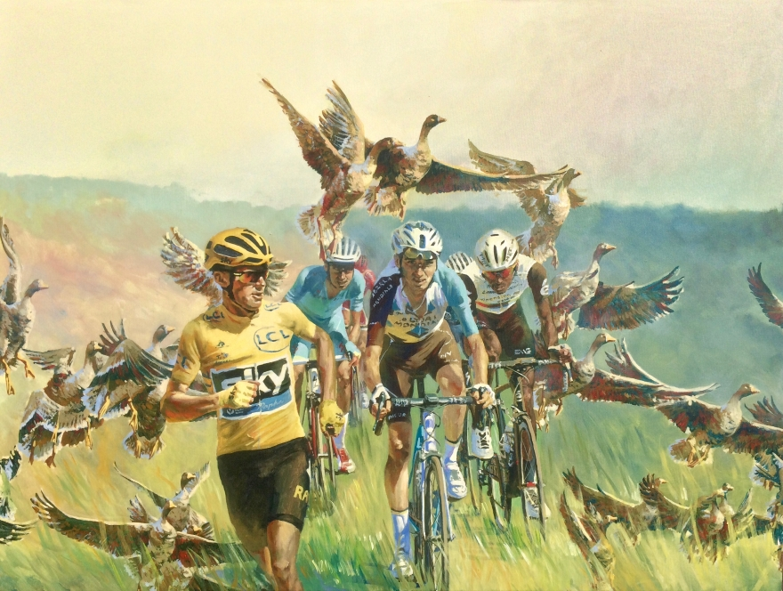 Chris Froome Chasing Geese - original painting, acrylic on canvas