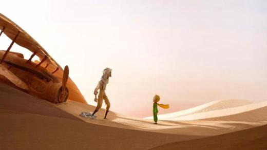 The Little Prince meets a pilot in a desert